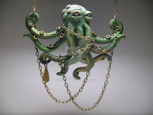 En-chain-ting Green Octopus Necklace by MythicSculptlore