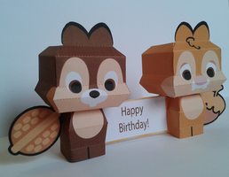 Chip and Dale cutie papercraft by Marlous2604