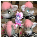 Candy's Fursuit Head so far by partybug98