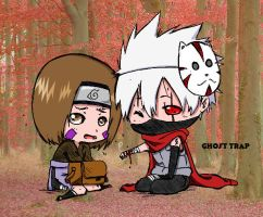 Chibi Kakashi and Rin by GhostTrap