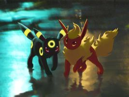 Umbreon and Flareon by Celebi-Yoshi