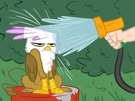 Just Watering the Catbird by Elslowmo