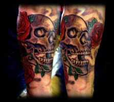 Skull with roses by WildThingsTattoo