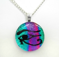 Teal and Purple Eye Of Horus Fused Glass Pendant by HoneyCatJewelry