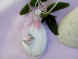 Glass flower butterfly pendant by Mirtus63