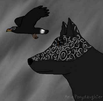 Wolf and Hawk in Armor by AriaPonydaughter