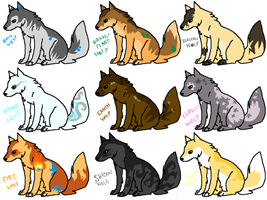 Elemental wolves - adopts by MilkaAdoptions