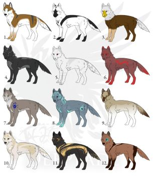 ADOPTABLES: Wolves by GriffonStudios