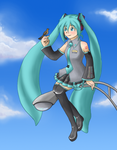 Hatsune MIku - Perched by elaby