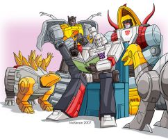 Megatron and the Dinobots by RedShoulder