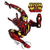 Spidey pose Iron man by Pickador