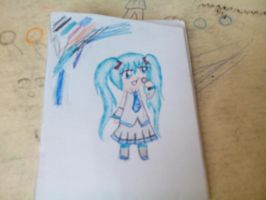 miku pen drawing X3 by clayfangirl