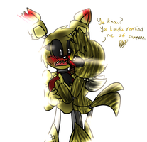 .:Gang:.Phantom Chica x Springtrap by Bonnie-Wabbit