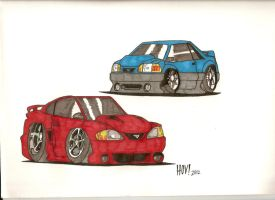 The fox and the Sn95 mustang by Davidbatmanfan