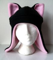 Black and Pink Aviator Cat Hat by TheBunnyCafe