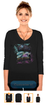 Winter Moon Fairy Custom Womens V-Neck 3/4 Sleeve by tessieart333