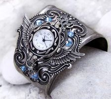 Steampunk Watch -Silver+Aqua 2 by Aranwen