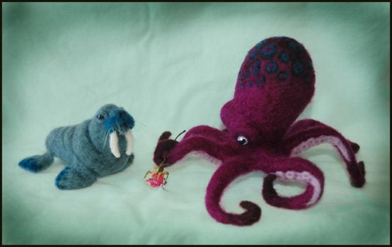 Needle felted Walrus + Octopus by amber-rose-creations
