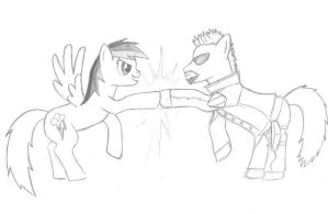 Rainbow Dash gives Adam Jensen Pony a Brohoof. by tdwbrisingr