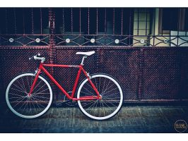 Red fixie bike by wisephotography