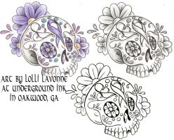 Cancer sugar skull by lavonne