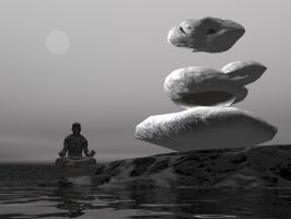 Yoga Man Levitating Rock by Skrabalo