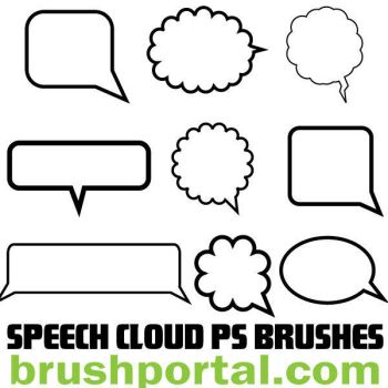 Speech Clouds Photoshop brushes by Brushportal