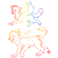 Rainbow Sketches 2 by MidnightAlleyCat
