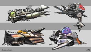 Sci-fi Transportation Vehicles by whatzitoya
