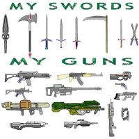 MY GUNS AND SWORDS THAT I USE by stringbeanninja