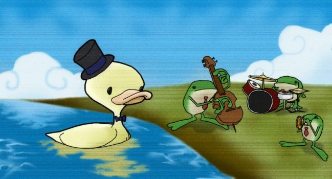 Duck and Frogs by fourlegs