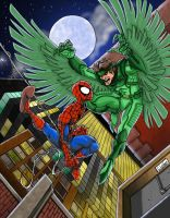 Spiderman vs The Vulture COLOR by clagala