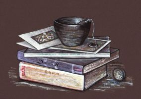 Books, postcards and a cup of tea by dh6art
