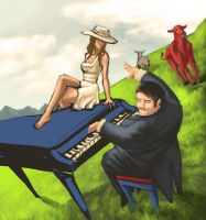 The Summer's Blue Grand Piano by Ragaru