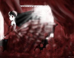 Monocrome Contest- Broken rose by Mineu18