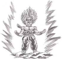 kid goku powering up by kastrishis