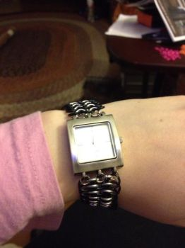 Watch with chainmaile band by TheMagicianAssistant
