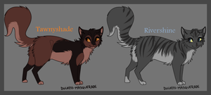 Warrior Cat Adoptables - Tawnyshade and Rivershine by Chasing-Fables