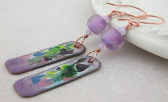 Orchid Abstract Earrings by cserpentDesigns