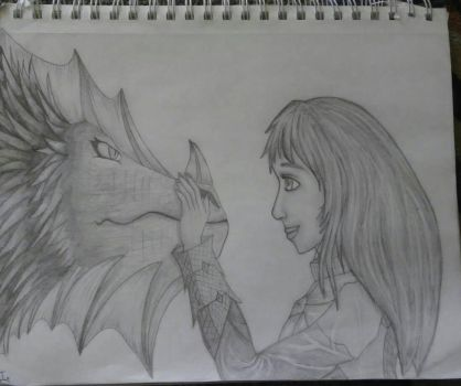 Girl and a Dragon by Grimroof