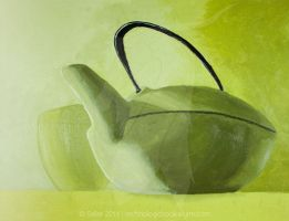 Green Teapot Still Life by TechnologicBookwyrm