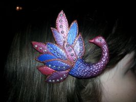 Peacock Hair clip by clmoore1035