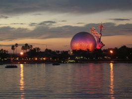 WDW: Sunset Over EPCOT by toughtink