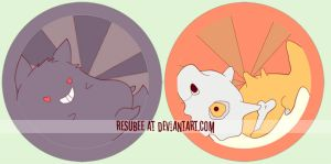 gengar and cubone buttons by resubee