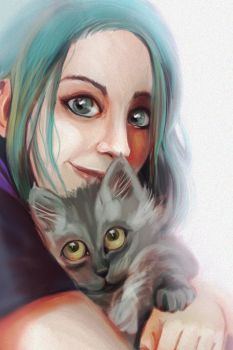 I love my cat by Miliedessine