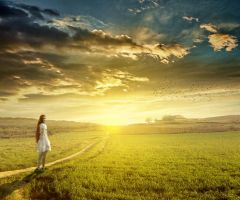Sunset landscape with girl by Brizzolatto55