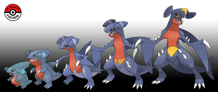 443 - 445 Gible Line by InProgressPokemon