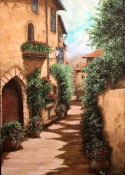 Old Village 2  oil on canvas 70 x50 cm by Inspektore