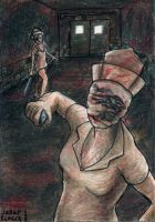 Sketch Card Silent Hill Nurses by AokiBengal