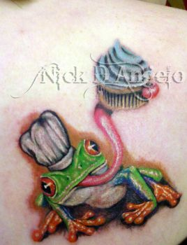 Realistic Frog with Cupcake by NickDAngeloTattoos